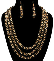 "18"" gold 3 row layered heel chain threaded necklace 1.75"" earrings"
