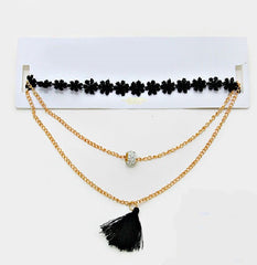 "14""  3 layer crystal tassel fringe choker collar necklace"