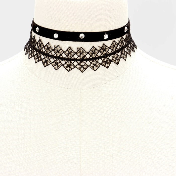 "13"" lace crystal choker necklace .40"" 1"" wide 2 piece"