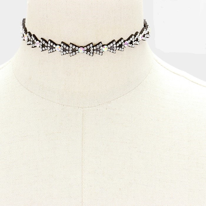 "13"" ab crystal bow felt back choker necklace .05"" wide"