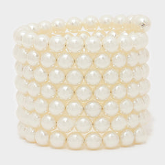 "2.50"" cream gold coil wrap 10mm pearl cuff bangle bracelet"