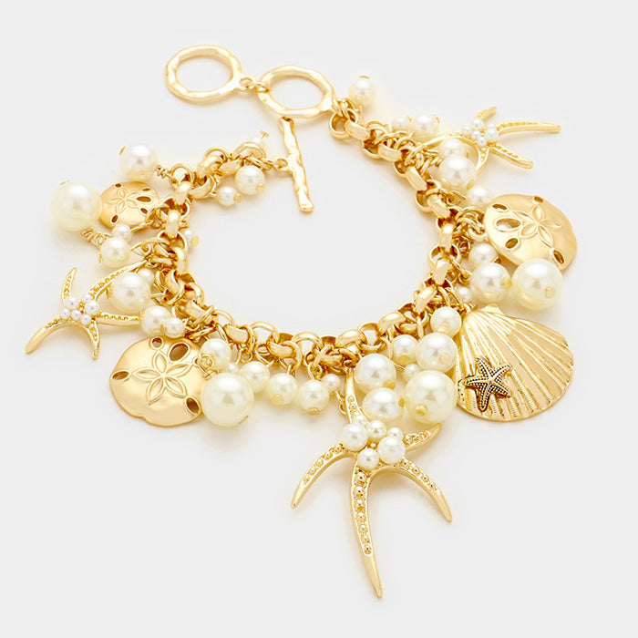 "7"" gold faux pearl chain link charm bracelet nautical sea life starfish"