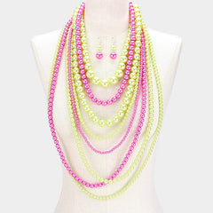 "20"" multi layers pink green pearl sorority necklace bib choker 2"" earrings"