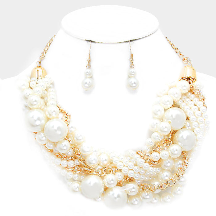 "18"" cream twisted pearl chunky multi strand bib choker collar necklace 1.50 earrings"