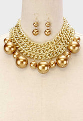 "12.50"" gold cream faux pearl layered choker collar bib necklace 2"" earrings"