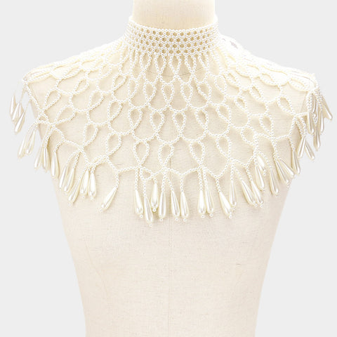 "13"" faux pearl choker necklace shoulder body chain armor shawl"