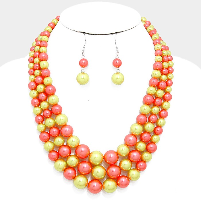 "16"" pink faux pearl multi strand layered bib necklace 2"" earrings"