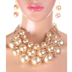 "14"" cream faux pearl multi layered necklace 2.50"" earrings bridal prom"