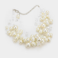 "14"" faux floating pearl choker collar bib necklace 1.50"" earrings"