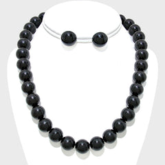 "16"" black faux pearl strand layered necklace earrings 12mm"