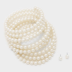 "106"" faux pearl wrap adjustable collar choker necklace statement earrings"