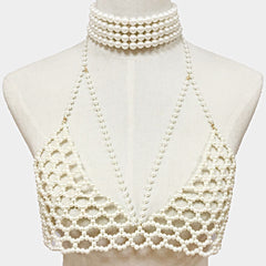 "14"" faux pearl choker necklace body bra swimsuit jewelry body chain"
