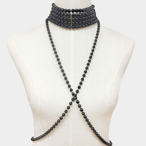 "13.50"" faux pearl choker necklace body chain drop"