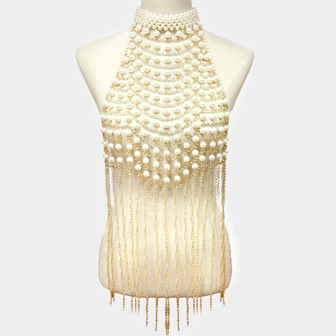 "14"" faux pearl choker necklace tassel chain body chain armor vest"