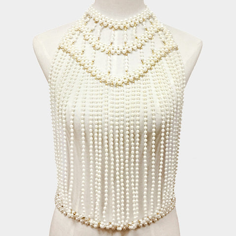 "16"" cream faux pearl choker necklace chain body chain armor vest"