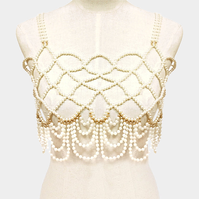 "36"" faux pearl fringe vest shoulder body chain celebrity bridal"