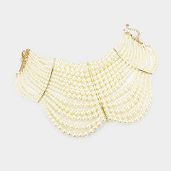 "14"" faux pearl multi layered choker necklace 1.75"" earrings bridal prom"
