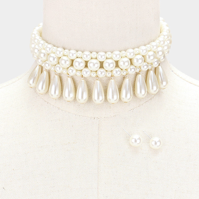 "12"" pearl cream collar choker Necklace .50"" earrings 1.50"" wide"