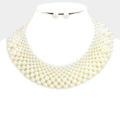 "14"" faux pearl collar bib choker necklace .60"" earrings bridal"