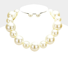"16"" cream faux pearl chunky choker necklace .60"" earrings"