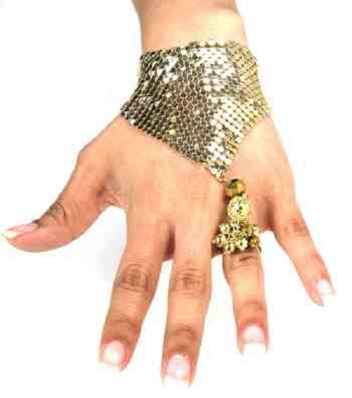 crystal sequin hand bracelet ring