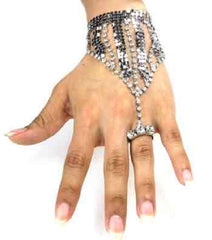 silver crystal hand boho sequin bracelet adjustable ring