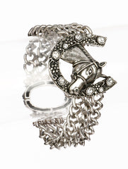 horse crystal cowboy cowgirl western multi chain bracelet bangle cuff jewelry