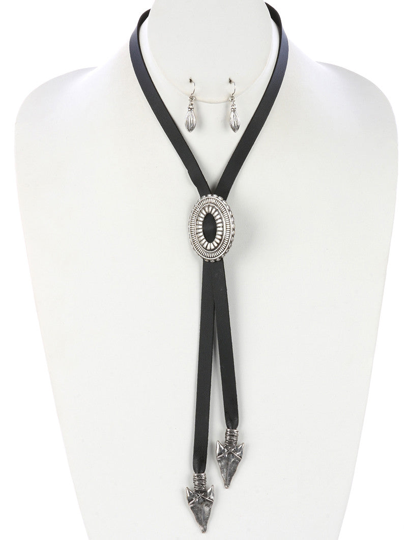 "36"" black lariat faux leather boho western medallion arrow necklace .90"" earrings"