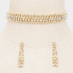 "12"" gold crystal choker collar necklace 1.75"" earrings .60"" wide bridal prom"