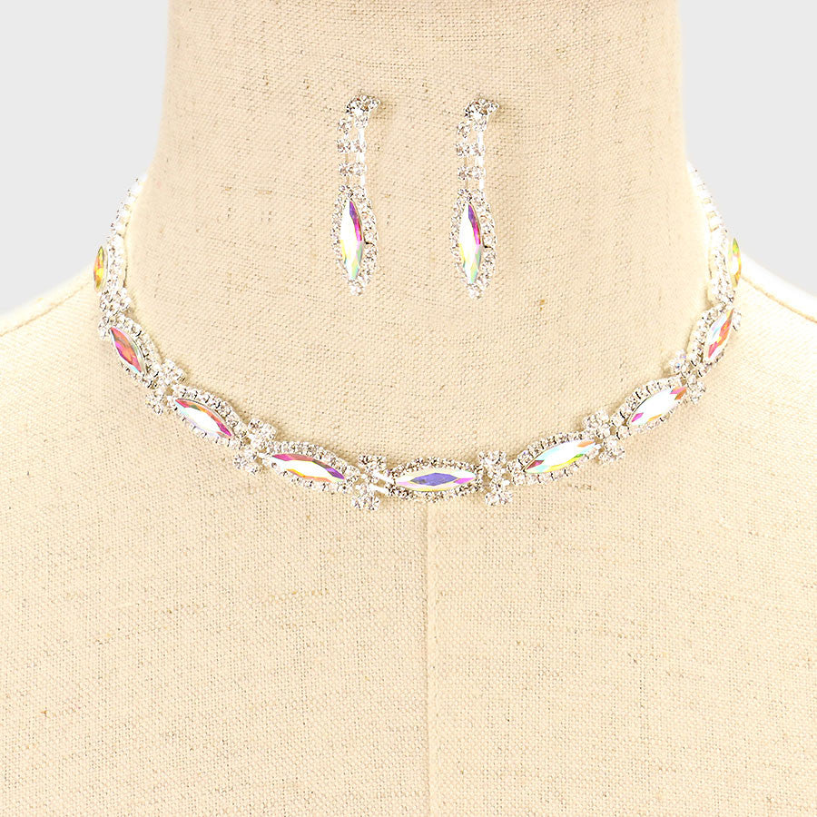 "12"" silver crystal necklace 1.35"" earrings prom bridal pageant"
