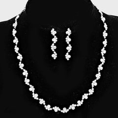 "16"" crystal necklace 1.75"" earrings bridal prom"