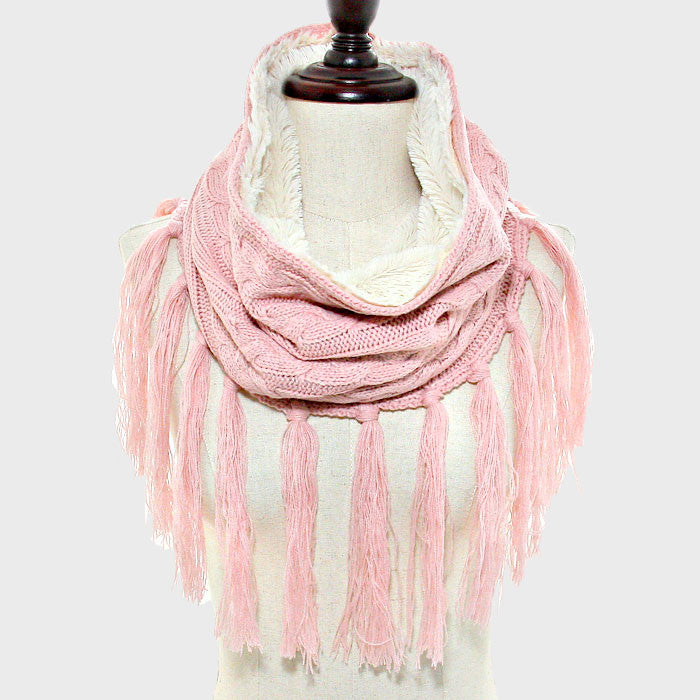 "15"" x 30"" pink fleece lined cable knit infinity winter scarf wrap double sided"
