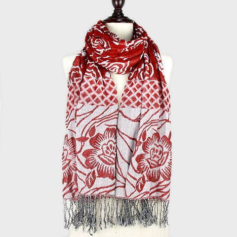 "20"" x 67"" red polyester flower leaf fringe winter scarf wrap"