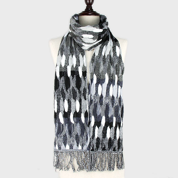 "77"" x 28"" multi color acrylic fringe winter scarf wrap"