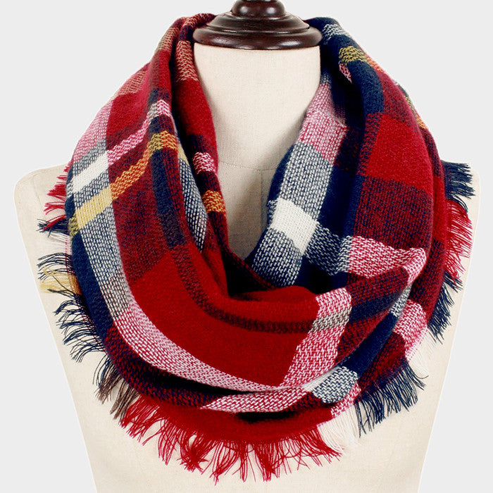 "17.50"" x 33.50"" burgundy plaid infinity acrylic winter scarf wrap"