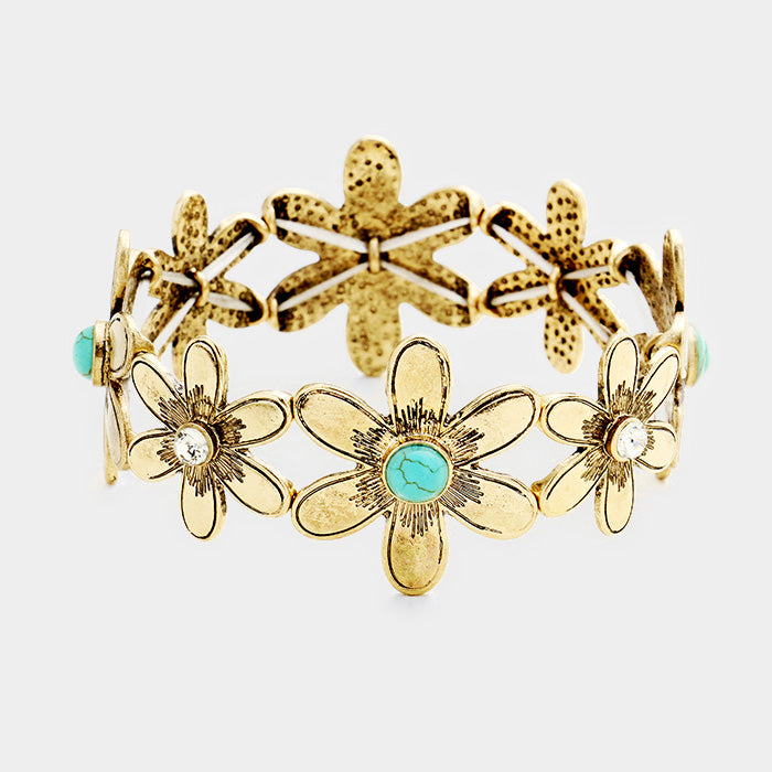 "1.25"" wide gold turquoise crystal stretch flower bracelet bangle boho"