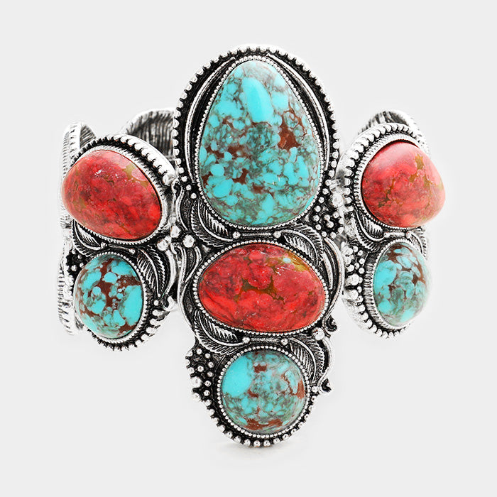 "7.50"" silver turquoise coral stone stretch bracelet boho 2.75"" wide"