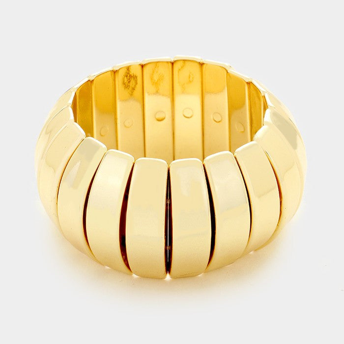 "10"" resin accordion stretch bracelet bangle 1.75"" wide"