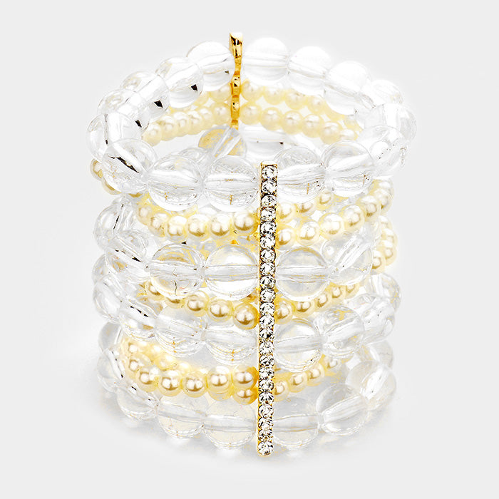 "faux pearl clear bead crystal stretch bracelet bangle 3"" wide"