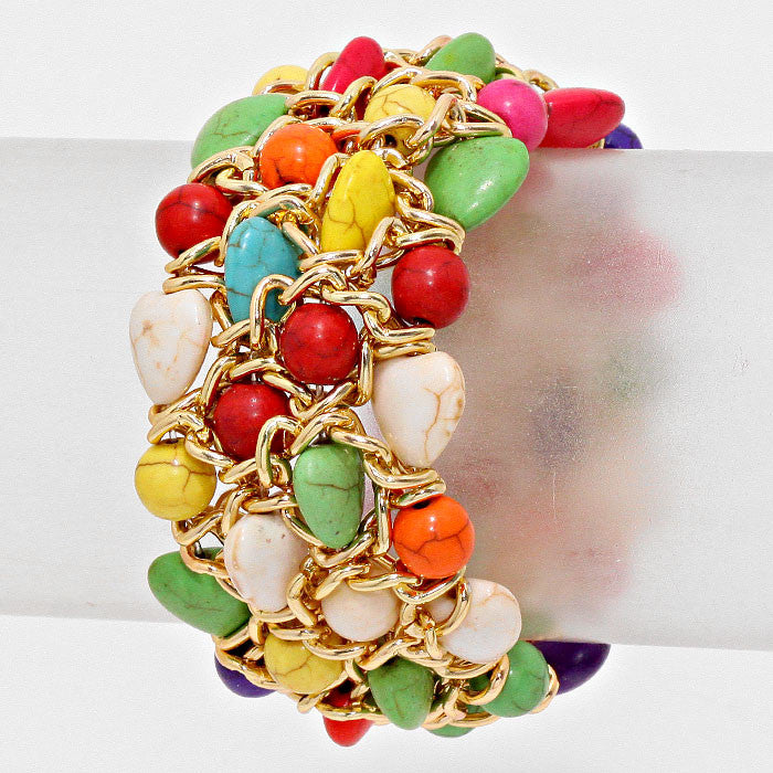 "1.50""  wide heart cracked gemstone stretch bracelet cuff bangle boho"