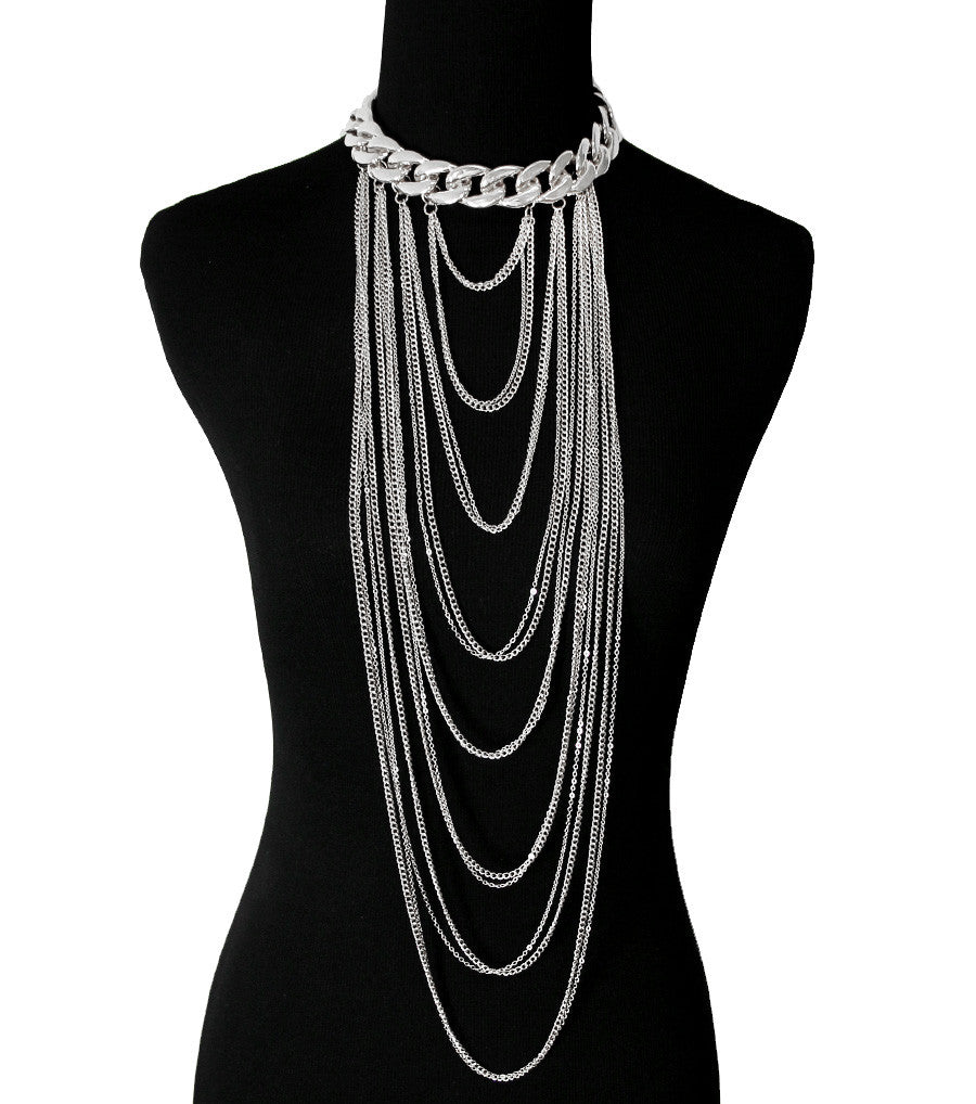 "19"" body chain thick layered choker bib collar chunky Necklace"