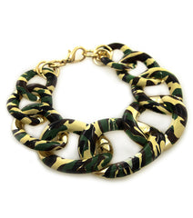 "7.50"" camouflage chain link bangle bracelet camo army military"