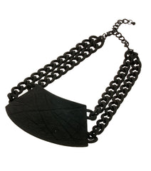 "15"" plate multi chain choker bib collar necklace"