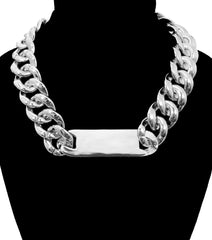 "16"" silver ID plate chain choker bib collar necklace"