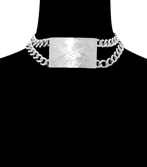 "15"" silver plate multi chain choker bib collar necklace"