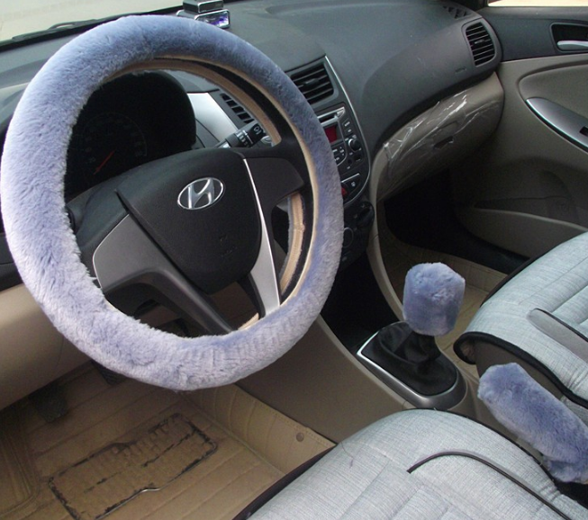 Not so furry steering wheel cover 3 pieces