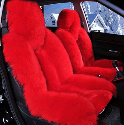 1 Piece Bear Fur Lit Fluffy Pink Seat Cover Not 2 Pieces