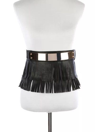 "24"" - 37"" black faux leather tassel fringe adjustable belt skirt one size wrap 2 piece"