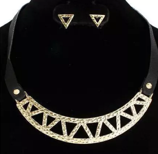 black gold faux leather choker collar bib necklace earrings statement
