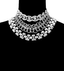 "17"" 3 separate collar choker bib boho necklace basketball wives"